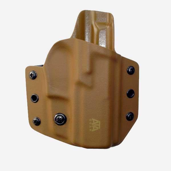 Кайдекс кобур за пистолет с фенер ATA GEAR Hit Factor ver.1 за GLOCK 19/23/19X/45 Coyote и фенер Olight BALDR Mini