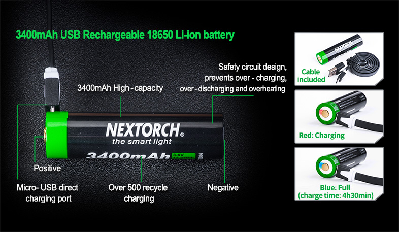 Акумулаторна батерия Nextorch 18650 3400mAH USB Rechargeable